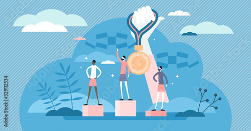 Cuadros en Lienzo Gold medal competition award concept, flat tiny person vector illustration