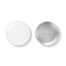 Blank Pinback Button Or White Round Badge