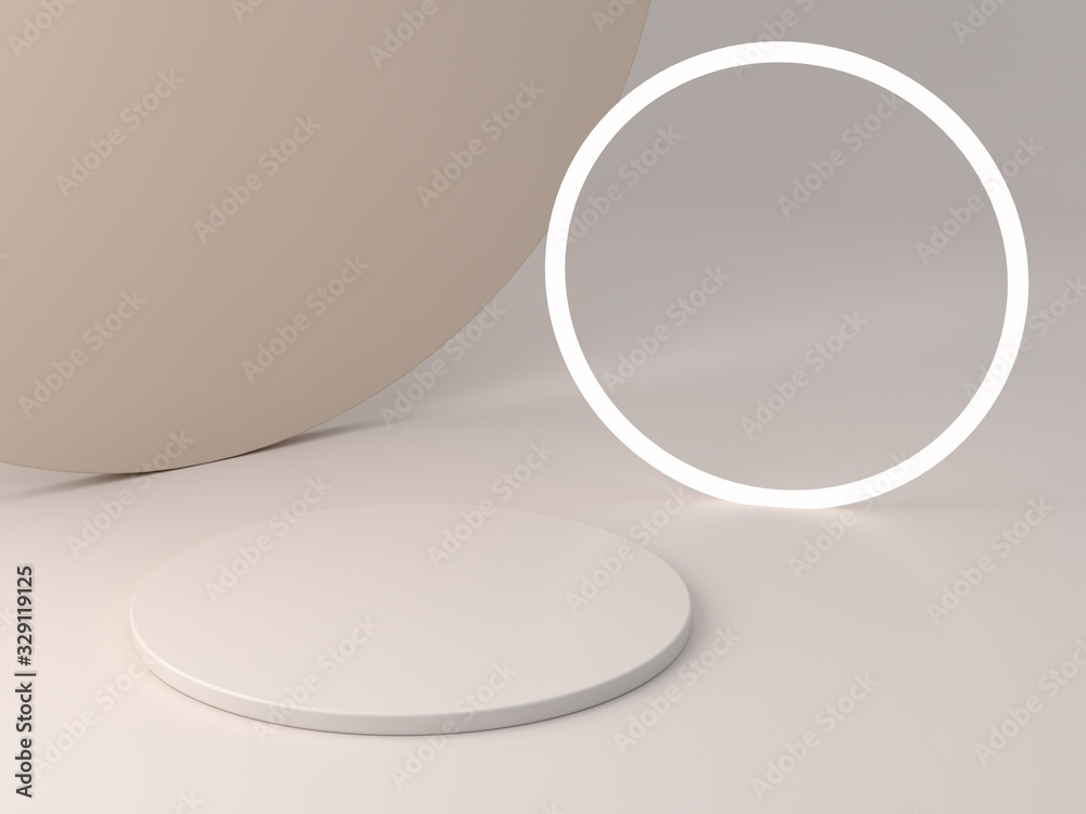 Fototapeta 3d rendering, abstract cosmetic background. Minimal podium to show a product. Empty scene with spherical lights . Pastel cream minimal wall. Fashion showcase, display case, shopfront.
