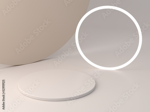 Obraz 3d rendering, abstract cosmetic background. Minimal podium to show a product. Empty scene with spherical lights . Pastel cream minimal wall. Fashion showcase, display case, shopfront.  - fototapety do salonu