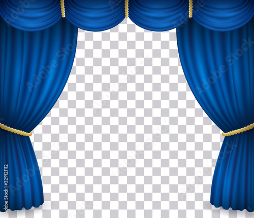 Obraz Blue theater stage curtain with drapery. Vector illustration of open velvet drapes with golden cord in cinema, opera, drama performance or show isolated on transparent background - fototapety do salonu