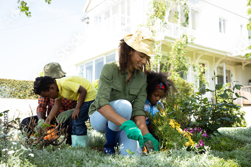 Family gardening together