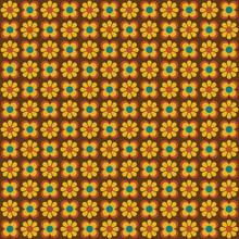 Retro Mod Yellow Brown Flowers Seamless Vector Pattern