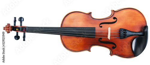 Fotografie, Obraz Beautiful Violin Isolated on White.