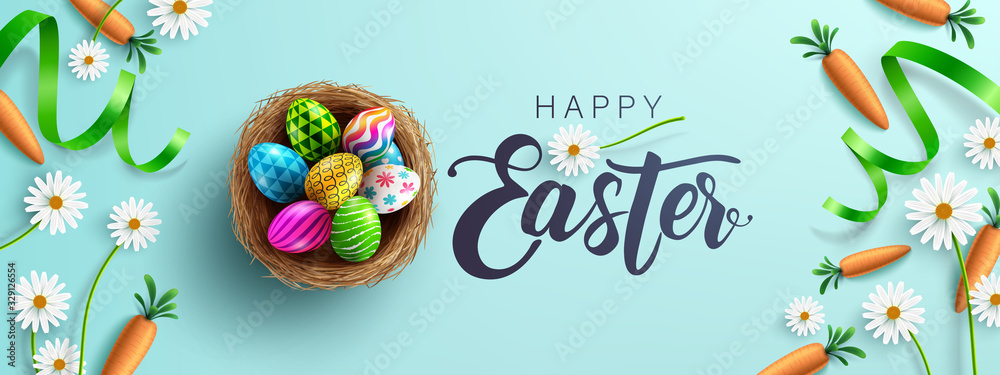Fototapeta Easter poster and banner template with Fower, carrots and Easter eggs in the nest on table.Greetings and presents for Easter Day in flat lay styling.Promotion and shopping template for Easter Day