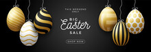 Luxury Easter Egg Sale Horizontal Banner. Easter Card With Gold And White Realistic Eggs Hang On A Thread, Golden Ornate Eggs On Black Modern Background. Vector Illustration. Place For Your Text