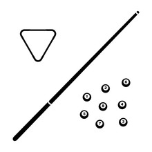 Vector Black Billiard Cue And Balls Icon. Game Equipment. Professional Sport, Classic Cue For Official Competitions And Tournaments. Isolated Illustration.