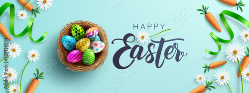 Obraz Easter poster and banner template with Fower, carrots and Easter eggs in the nest on table.Greetings and presents for Easter Day in flat lay styling.Promotion and shopping template for Easter Day - fototapety do salonu