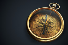 Vintage Compass Isolated On Bl...