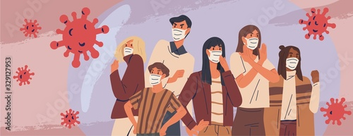 Obraz Crowd of people wearing medical masks banner. Preventive measures, human protection from pneumonia outbreak. Coronavirus epidemic concept. Respiratory disease, virus spread. Vector illustration - fototapety do salonu