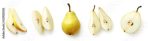 Set of fresh pear isolated on white background Tapéta, Fotótapéta