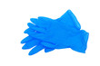 Leinwandbild Motiv pair of blue medical gloves isolated on white background