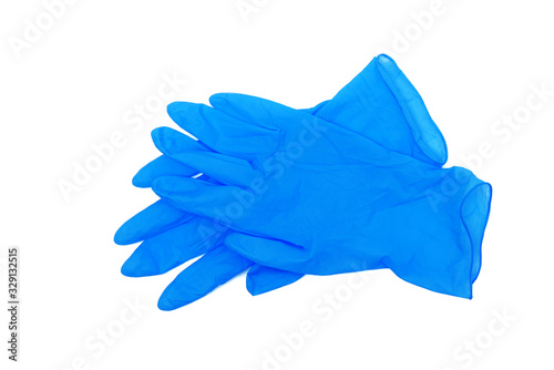 pair of blue medical gloves isolated on white background