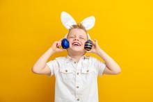 Cheerful Boy In Rabbit Bunny E...