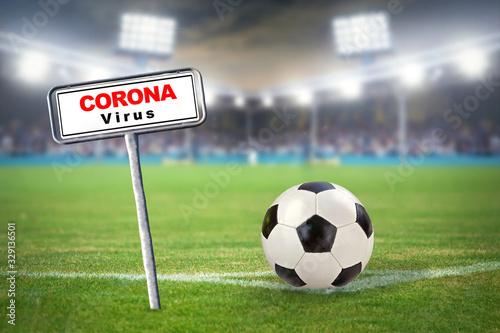 fototapeta na drzwi i meble Fußball - Corona Virus