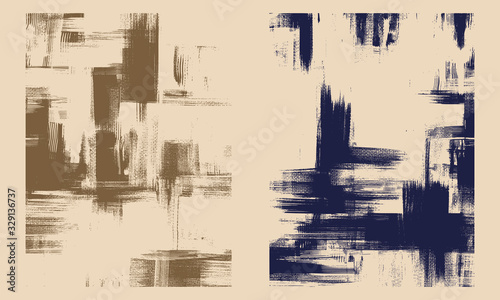 Fototapeta Rough oil paint strokes on canvas. Set of two abstract paintings, cross hatching monochrome grungy background obraz