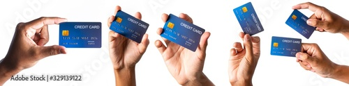 Obraz Hand holding credit card isolated on white  - fototapety do salonu