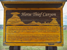 Close-up Of A Signboard, Horsethief Canyon, Drumheller, Red Deer River, Alberta, Canada