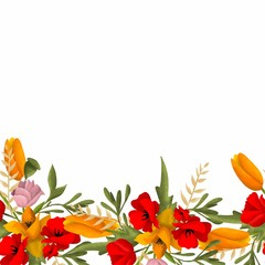 Decorative seamless border with flowers. for fabrics. wallpaper. decor. Maquis. Tulips. roses. greenery. yellow and red colors.