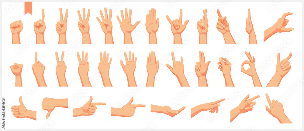 Fototapeta Set of realistic human hands, signs and gestures, figures and finger movements isolated vector illustrations on a white background