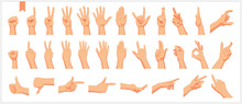 Set Of Realistic Human Hands, Signs And Gestures, Figures And Finger Movements Isolated Vector Illustrations On A White Background