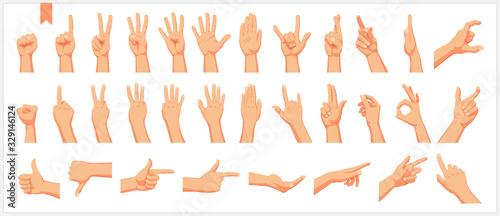 Fotografia, Obraz Set of realistic human hands, signs and gestures, figures and finger movements i