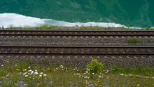 View Of Empty Railroad Track, Yellowhead Highway, British Columbia, Canada