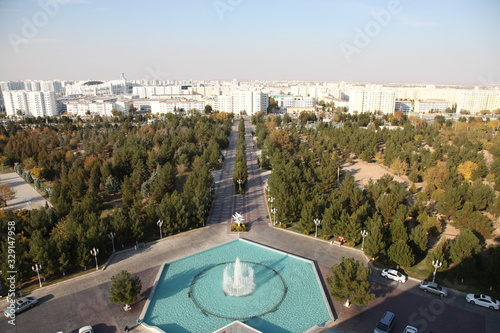 Panoramic view of Ashgabat, the capital of Turkmenistan in Central Asia Canvas Print