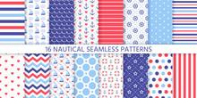 Nautical Seamless Pattern. Vec...