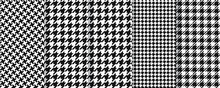 Houndstooth Seamless Pattern. Vector. Plaid Tweed Background. Geometric Black White Fabric With Hound Tooth. Vintage Checkered Texture. Abstract Woven Dogtooth Print 80s. Vogue Pixel Illustration.