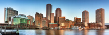Downtown Panoramic City View Of Boston Massachusetts Looking Over The Riverfront Harbor From Fan Pier Park