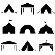 Tent Set Icon, Logo Isolated O...