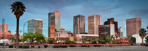 Cityscape panoramic skyline view of office buildings and apartment condominiums in downtown Phoenix Arizona USA #329155108