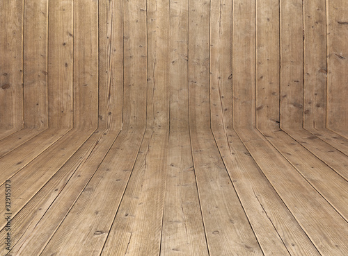Obraz empty interior room - brown wall wooden planks in front view - floor perspective - wood texture for rustic background - fototapety do salonu