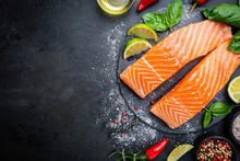 Raw Salmon Fillet And Ingredie...