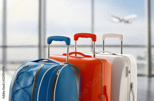 Suitcase or trolley and airport background with plane Wallpaper Mural