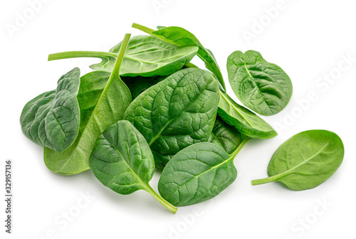Fototapeta Pile of fresh green baby spinach leaves isolated  on white background. Close up obraz