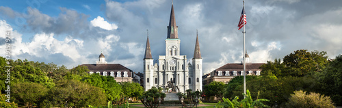Fototapeta Historic St. Louis Cathedral panorama and the statue of Andrew Jackson across Jackson Square in New Orleans Louisiana USA obraz