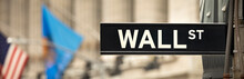 New York Stock Exchange Sign Panoramic On Wall Street, Manhattan New York USA