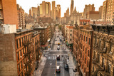 Fototapeta Nowy Jork - Densely populated neighbourhood streets of downtown Chinatown in Manhattan New York USA