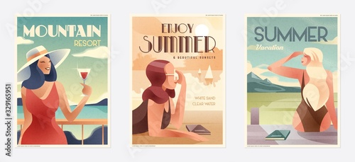 Obraz Retro Design Summer Holiday and Summer Camp poster. Girl relaxing on the beach. Vector - fototapety do salonu