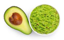 Bowl Of Guacamole With Avocado