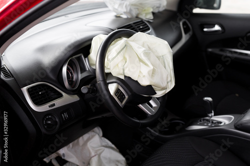 Photo Airbag exploded at a car accident. Car Crash