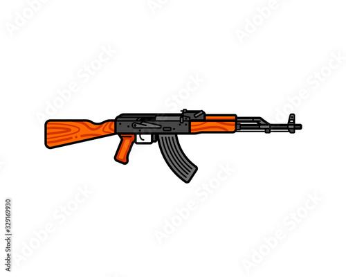 Photo Kalashnikov assault rifle line icon