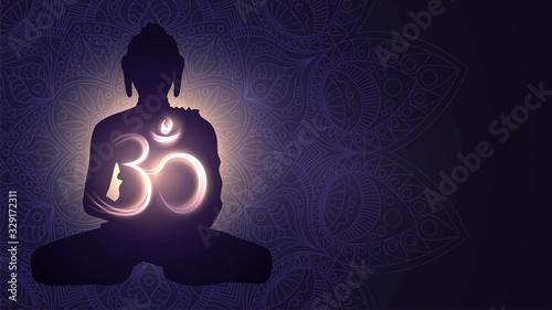 Stampa su Tela Buddha silhouette and glowing sign Om, Hinduism, Buddhism