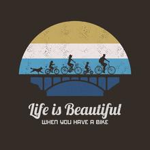 People On Bikes. Cyclists On Bridge. Family Road Trip. Retro Backdrop