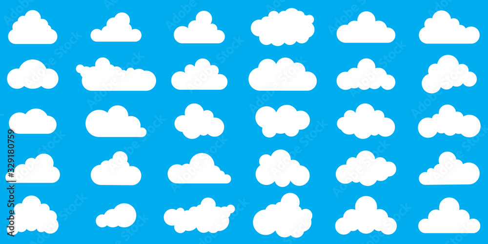 Cloud icons - vector. Various shape of Clouds.