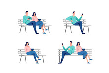 Young Man And Woman Sitting In The City Park On The Bench. Set Of Vector Illustrations.