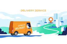 Express Delivery Truck With Ma...