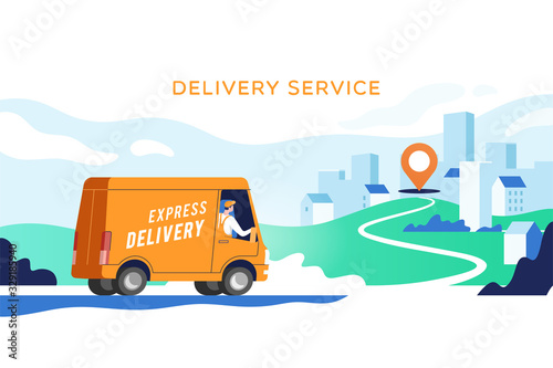 Express delivery truck with man is carrying parcels on points Wallpaper Mural